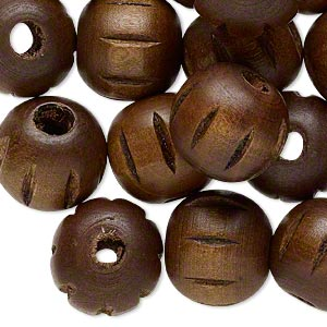 bead, wood (dyed), dark brown, 20mm hand-cut fluted round. sold per pkg of 25.