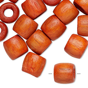 bead, wood (dyed), orange, 12x11mm barrel. sold per pkg of 24.
