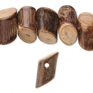 bead, wood (natural), 16x6mm-24x10mm slide-cut side-drilled cylinder. sold per 16-inch strand.