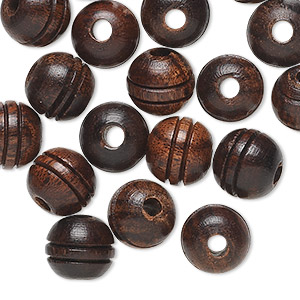 bead, wood (natural), brown, 9-10mm round with carved double lines. sold per pkg of 20.