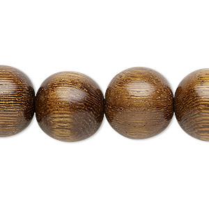 bead, wood (waxed), 14-15mm hand-cut round. sold per 16-inch strand.