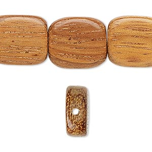 bead, wood (waxed), 18x15mm hand-cut flat rectangle. sold per 16-inch strand.