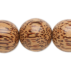 bead, wood (waxed), 19-20mm hand-cut round. sold per 16-inch strand.