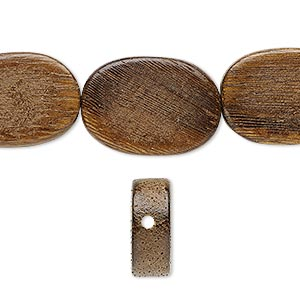 bead, wood (waxed), 20x15mm hand-cut flat oval. sold per 16-inch strand.