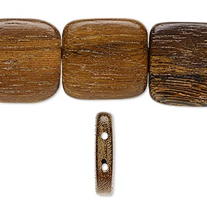 bead, wood (waxed), 25x25mm hand-cut double-drilled rounded flat square. sold per 16-inch strand.