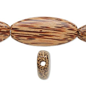 bead, wood (waxed), 35x15mm hand-cut flat oval. sold per 16-inch strand.