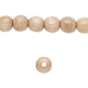 bead, wood (waxed), 7-8mm hand-cut round. sold per pkg of (2) 16-inch strands.