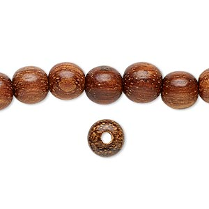 bead, wood (waxed), 8mm hand-cut round. sold per 16-inch strand.