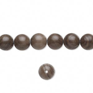 bead, woodgrain stone (natural), 8mm round, b grade, mohs hardness 3. sold per 16-inch strand.