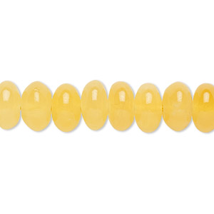 bead, yellow calcite (coated), 10x5mm-10x6mm rondelle, b grade, mohs hardness 3. sold per 16-inch strand.