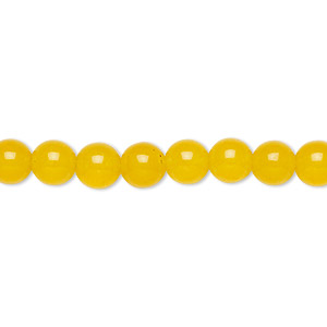 bead, yellow jade (dyed), 6mm round, b grade, mohs hardness 6-1/2 to 7. sold per 16-inch strand.