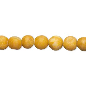 bead, yellow marble (natural), matte finish, 6-7mm round, c- grade, mohs hardness 3. sold per 15-inch strand.