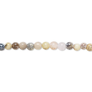 bead, yellow moss agate (natural), 4mm round, b grade, mohs hardness 6-1/2 to 7. sold per 16-inch strand.