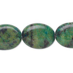 bead, yellow turquoise (dyed), green and blue, 20x15mm-20x16mm puffed oval, c grade, mohs hardness 2-1/2 to 6. sold per 15-inch strand.