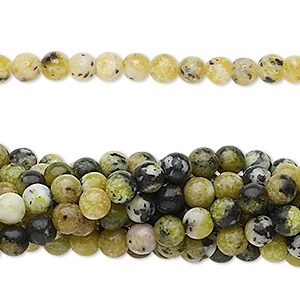 bead, yellow turquoise (natural), 4mm round, c grade, mohs hardness 2-1/2 to 6. sold per pkg of (10) 16-inch strands.