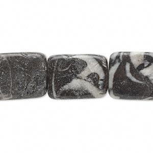 bead, zebra jasper (natural), 15x13mm-20x14mm flat rectangle, c- grade, mohs hardness 3. sold per 16-inch strand.
