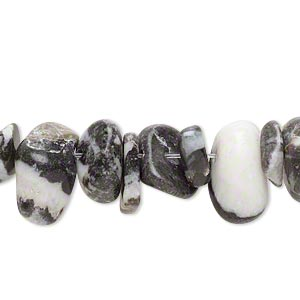bead, zebra jasper (natural), large chip, mohs hardness 3. sold per 15-inch strand.