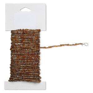 beaded wire, glass and brass, transparent rainbow brown, #9 and #6 round seed beads. sold per 15-foot card with hanging tab.