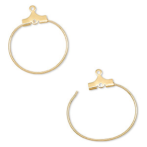 beading hoop, gold-plated brass, 20mm round with loop. sold per pkg of 100.