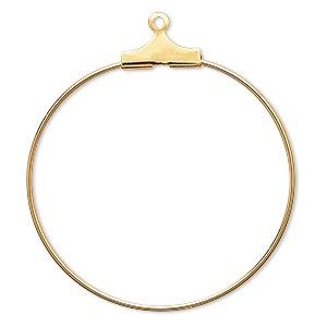 beading hoop, gold-plated brass, 30mm round. sold per pkg of 100.