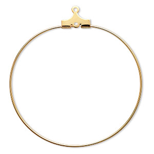 beading hoop, gold-plated brass, 40mm round with loop. sold per pkg of 10.