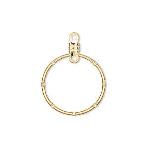 beading hoop, gold-plated steel, 20mm notched round with closed loop. sold per pkg of 10.