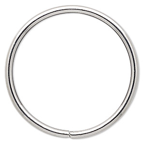 beading hoop, imitation rhodium-plated steel, 2-inch closed round. sold per pkg of 4.