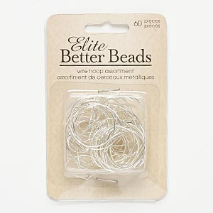 beading hoop mix, silver-finished pewter (zinc-based alloy), 20-32mm round. sold per pkg of 60.