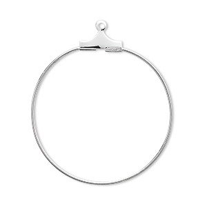 beading hoop, silver-plated brass, 30mm round. sold per pkg of 100.