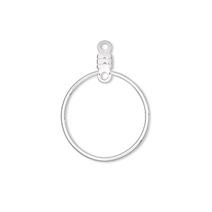 beading hoop, silver-plated steel, 20mm smooth round with closed loop. sold per pkg of 10.