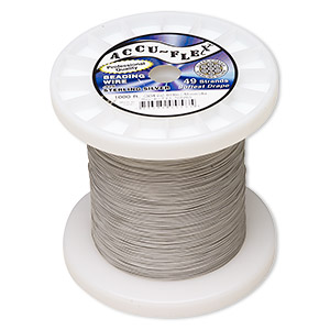 beading wire, accu-flex, nylon and .925 sterling silver, clear, 49 strand, 0.019-inch diameter. sold per 1,000-foot spool.