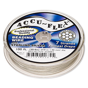 beading wire, accu-flex, nylon and .925 sterling silver, clear, 7 strand, 0.019-inch diameter. sold per 100-foot spool.