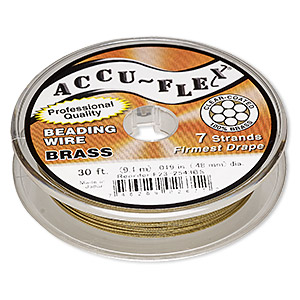 beading wire, accu-flex, nylon and brass, clear, 7 strand, 0.019-inch diameter. sold per 30-foot spool.