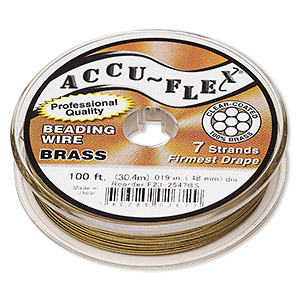 beading wire, accu-flex, nylon and brass, clear, 7 strand, 0.019-inch diameter. sold per 100-foot spool.