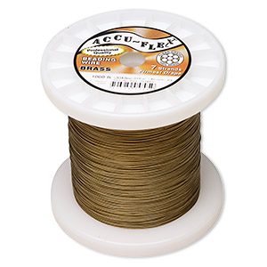 beading wire, accu-flex, nylon and brass, clear, 7 strand, 0.019-inch diameter. sold per 1,000-foot spool.