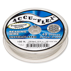 beading wire, accu-flex, nylon and silver-plated stainless steel, clear, 49 strand, 0.019-inch diameter. sold per 100-foot spool.