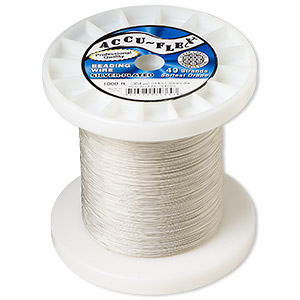 beading wire, accu-flex, nylon and silver-plated stainless steel, clear, 49 strand, 0.014-inch diameter. sold per 1,000-foot spool.