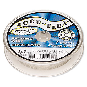 beading wire, accu-flex, nylon and silver-plated stainless steel, clear, 7 strand, 0.0083-inch diameter. sold per 30-foot spool.