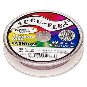 beading wire, accu-flex, nylon and stainless steel, blush pink, 49 strand, 0.014-inch diameter. sold per 30-foot spool.