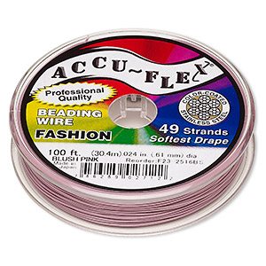 beading wire, accu-flex, nylon and stainless steel, blush pink, 49 strand, 0.024-inch diameter. sold per 100-foot spool.