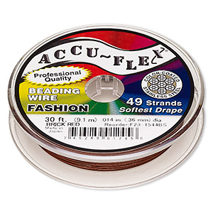 beading wire, accu-flex, nylon and stainless steel, brick red, 49 strand, 0.014-inch diameter. sold per 30-foot spool.