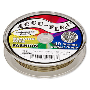 beading wire, accu-flex, nylon and stainless steel, bronze, 49 strand, 0.019-inch diameter. sold per 30-foot spool.