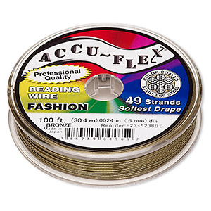 beading wire, accu-flex, nylon and stainless steel, bronze, 49 strand, 0.024-inch diameter. sold per 100-foot spool.