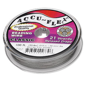 beading wire, accu-flex, nylon and stainless steel, clear, 21 strand, 0.019-inch diameter. sold per 100-foot spool.