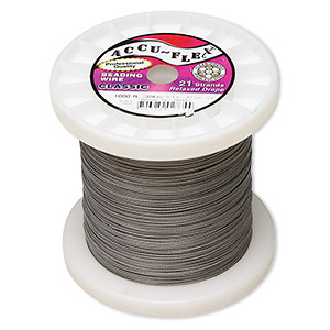 beading wire, accu-flex, nylon and stainless steel, clear, 21 strand, 0.024-inch diameter. sold per 1,000-foot spool.