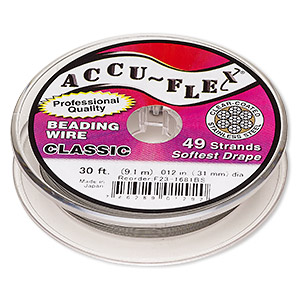 beading wire, accu-flex, nylon and stainless steel, clear, 49 strand, 0.012-inch diameter. sold per 30-foot spool.