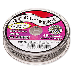 beading wire, accu-flex, nylon and stainless steel, clear, 49 strand, 0.024-inch diameter. sold per 100-foot spool.