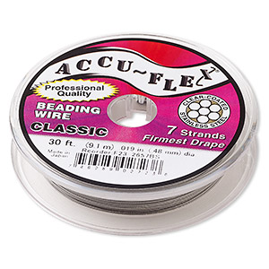 beading wire, accu-flex, nylon and stainless steel, clear, 7 strand, 0.019-inch diameter. sold per 30-foot spool.