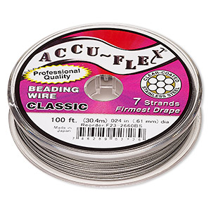 beading wire, accu-flex, nylon and stainless steel, clear, 7 strand, 0.024-inch diameter. sold per 100-foot spool.