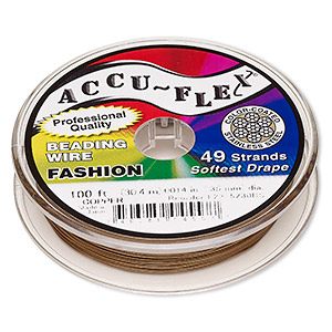 beading wire, accu-flex, nylon and stainless steel, copper, 49 strand, 0.014-inch diameter. sold per 100-foot spool.